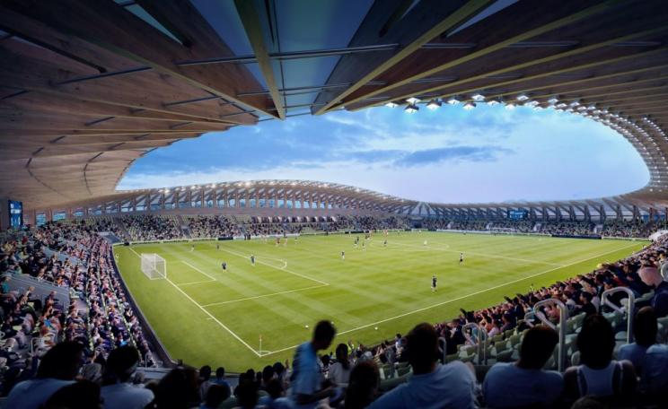 Zaha Hadid's design for Forest Green's proposed 5,000-capacity stadium made entirely of wood