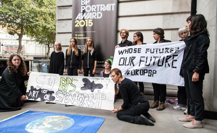 A performance by Children Against Global Warming at the National Portrait Gallery in August 2015, during Art Not Oil's Festivoil Day of Action