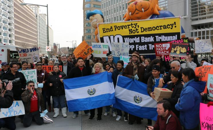 Pacific Rim out of El Salvador protest outside World Bank