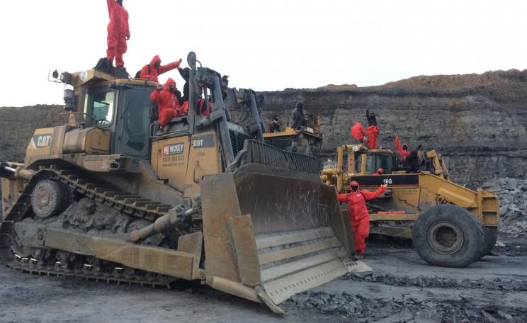 Protesters on diggers at Fieldhouse opencast mine