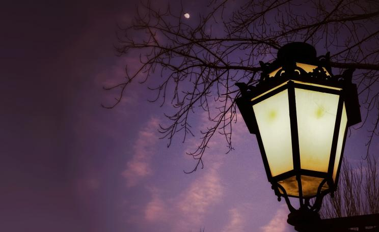 Street lamp under sunset