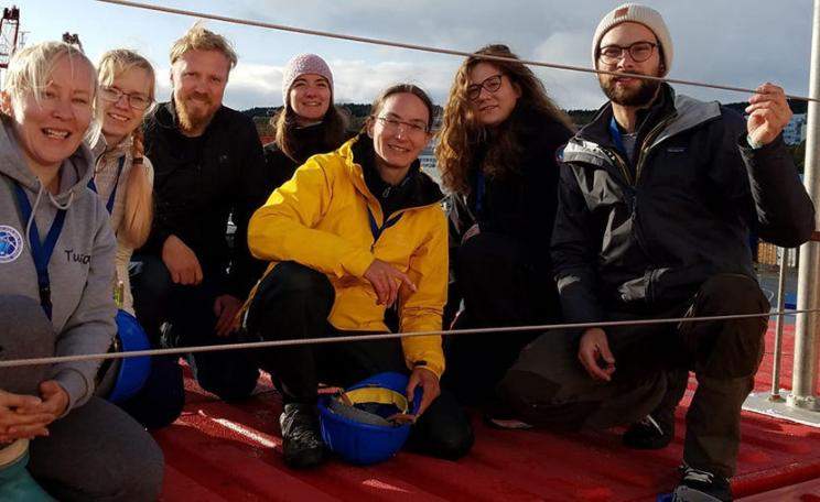 Finnish-Swiss team on the deck of Polarsten from left to right: Tuija Jokinen, Tiia Laurila, Heikki Junninen, Zoe Brasseur, Julia Schmale (PSI), Lauriane Quelever ja Ivo Beck (PSI). University of Helsinki