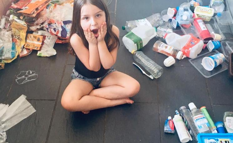 Ava Roberts with plastic waste