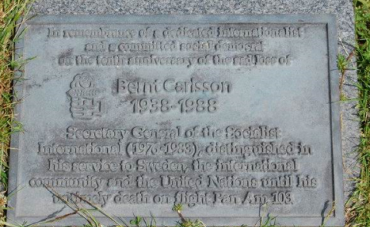 "Memorial stone to Assistant Secretary-General of the United Nations and UN Commissioner for Namibia, Bernt Carlsson. ""In remembrance of a dedicated internationalist and a committed social democrat on the tenth anniversary of the sad loss of Bernt Carlsso"
