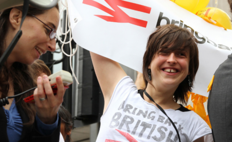 Ellie Harrison campaigning for a publicly owned railway system. Photo: Robin Prime.