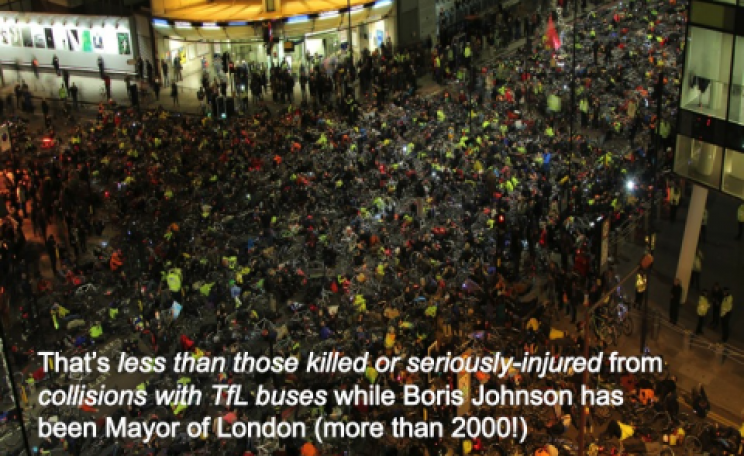 In late 2013 this mass die-in took place outside the TFL headquarters to protest the spate of deaths and injuries to London cyclists. Photo: Stop Killing Cyclists.