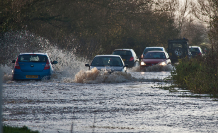 A flooded A361 on the Somerset Levels. Photo: Mark Robinson via Flickr.com.