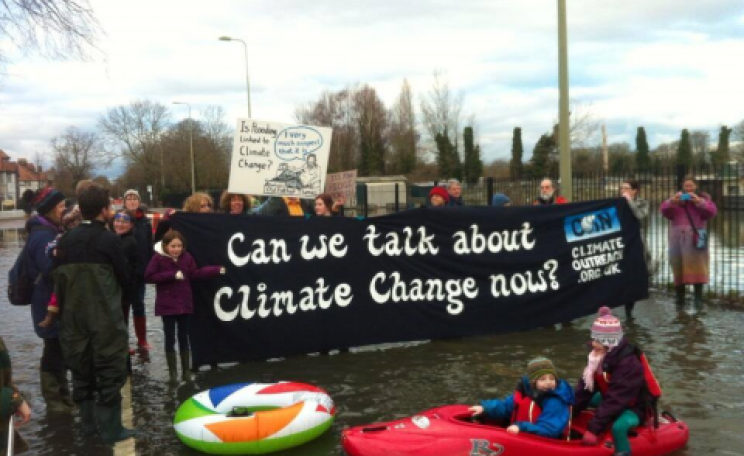 Can we talk about climate change now? Flooded Oxford residents take to the streets. Among their problems, sewage contamination of flood waters and non-flushing toilets. Photo: Adam Ramsay.