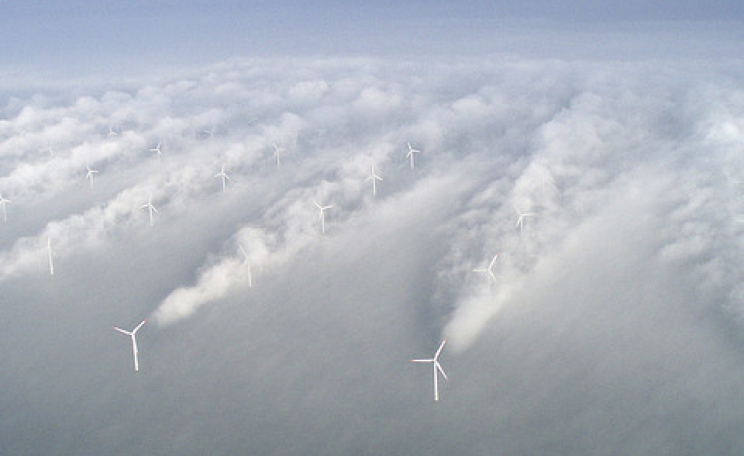Aerial picture of Horns offshore wind farm in Denmark. Photo: Vattenfall via Flickr.com.