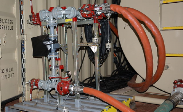 A field deployable hydrolysis system, designed to neutralize chemical weapons aboard the container ship MV Cape Ray, Jan. 2, 2014. Photo: US Department of Defense.