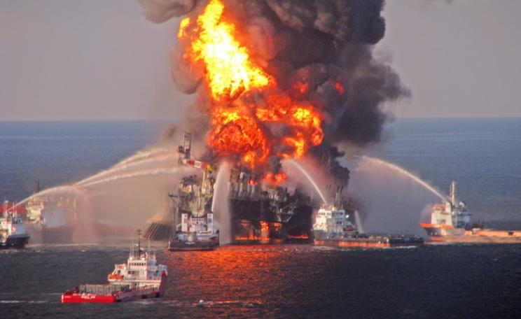 Fire aboard the Deepwater Horizon. US Coast Guard / handout / EPA.