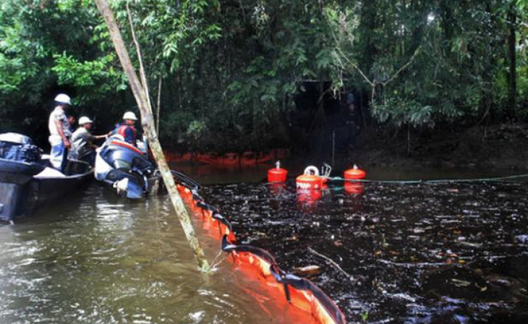 An oil spill resulting from Chevron's oil drilling in Ecuador's Amazon region.