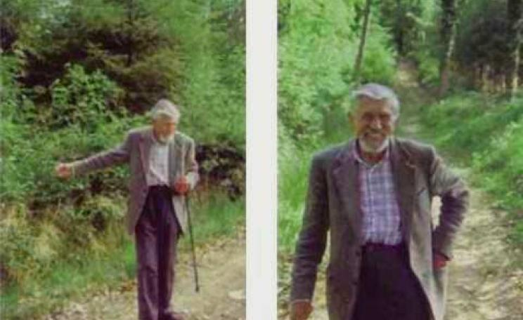 Talis Kalnars in 1999, in the Dinam Estate woodlands in mid-Wales. Photos: Oliver Tickell.