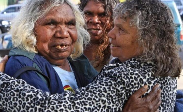Muckaty traditional owners Doris Kelly, Gladys Brown and Elaine Peckham celebrate victory in their battle to stop the imposition of a nuclear waste dump. Photo via Friends of the Earth Australia.