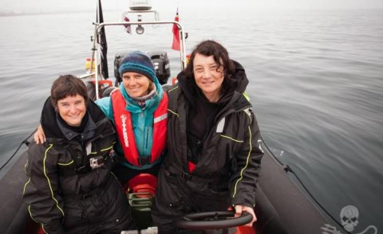 Sea Shepherd crew of the Spitfire: Celine Le Diouron and Marion Selighini, both from France, and Jessie Treverton of the UK. Photo: Sea Shepherd / Barbara Veiga.