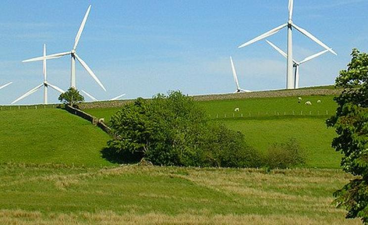 Wind turbines in Powys, Wales. Even if you don't like them, would an open-pit coal mine, or landscape dotted with fracking wells, be an improvement? Photo: vicirabi via Flickr.