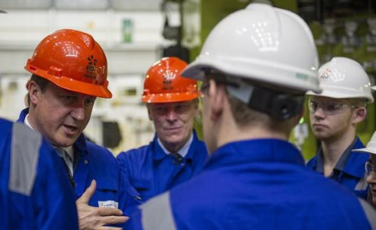 'So can you build this bloody power station or can't you?' Cameron gets tough with EDF workers on a visit to the Hinkley Point C site. Photo: Department of Energy and Climate Change via Flickr.
