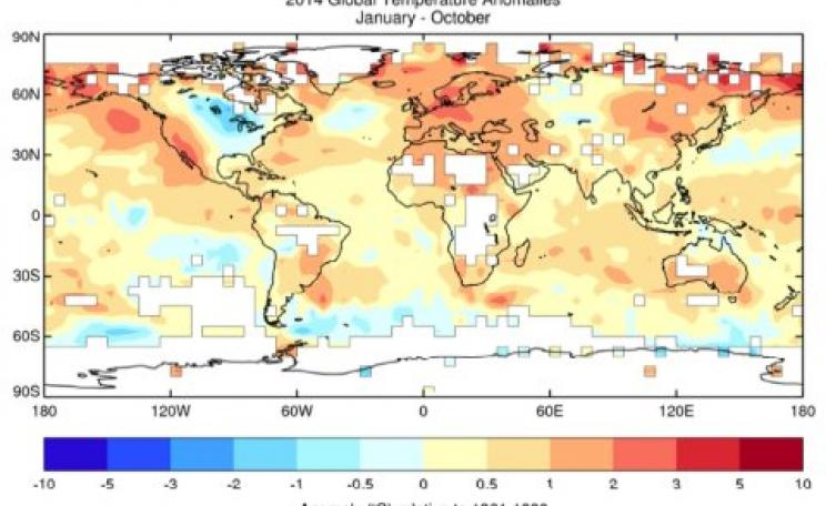 January-October 2014 average air temperature anomalies over land and sea surface temperature anomalies over the oceans (relative to the 1961-1990 average) from the HadCRUT.4.3.0.0 data set. Image: WMO.