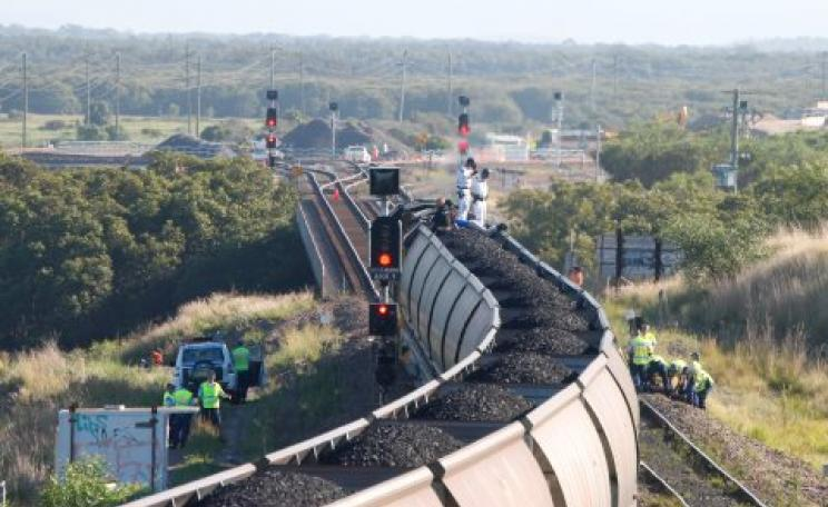 Protestors halt the first test train load of coal coming from the controversial Maules Creek coal mine on its way to Newcastle's Kooragang Island coal export terminals. Photo: Frontline Action on Coal.