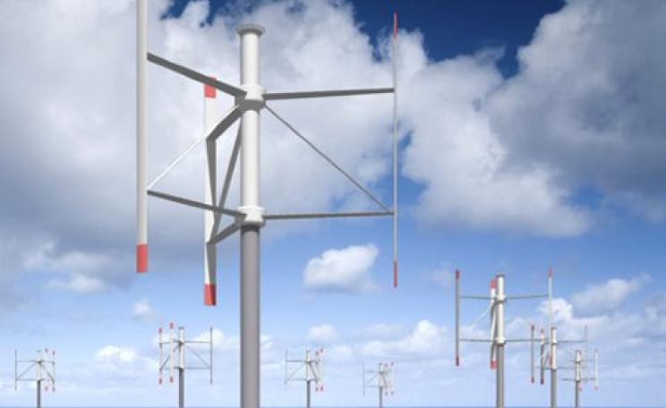 Another advantage of vertical axis turbines is that they can be placed closer together. Image: Vertax Wind.
