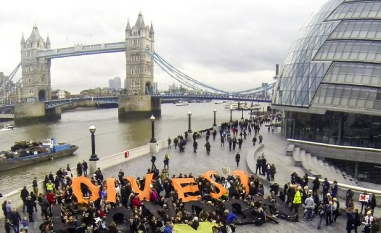 Victory! Global Divestment Day City Hall action by Divest London, 14th February 2015. Photo: 350 .org via Flickr (CC BY-NC-SA).