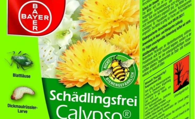 A pack of Bayer's 'Calypso' pesticide that contains the bee-toxic neonicotinoid Thiacloprid, complete with the 'not harmful to bees' logo - as sold in Germany.