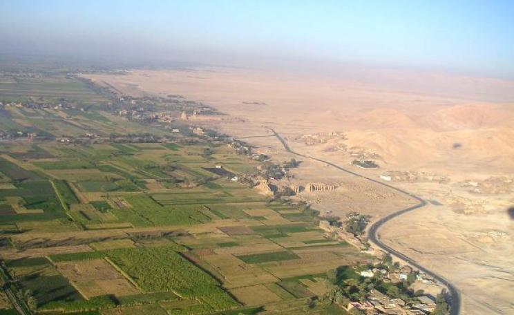 Where water meets desert ... Egypt depends entirely on the waters of the Nile to irrigate its farmland, but the river's flows are now imperilled by dam building upstream in Ethiopia. Casus belli? Photo: Tom Lowenthal  via Flickr (CC BY-NC-ND 2.0).