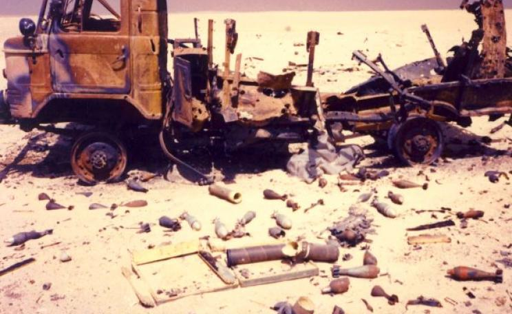 A toxic trail of chemical pollution and uranium ash from DU munitions: the infamous 'Highway of Death' from Kuwait across the Iraqi desert in Gulf War 1, in 1991. Photo: Bryan Dorrough via Flickr (CC BY).