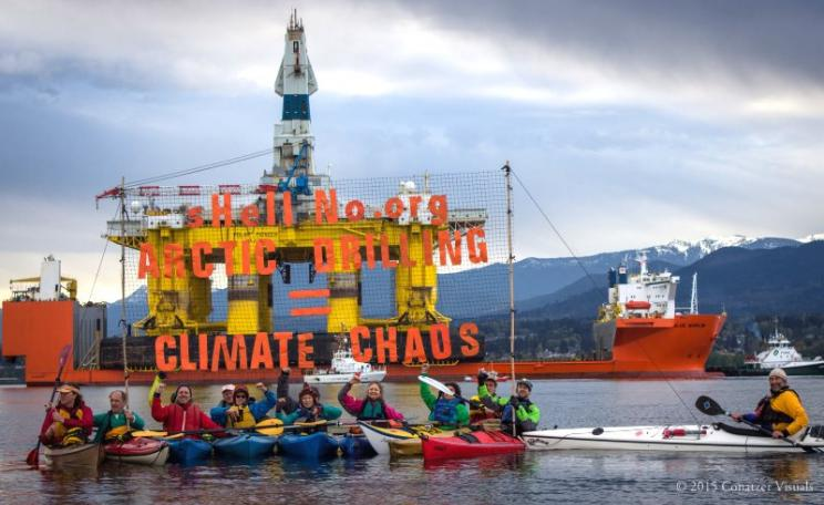 The 'Polar Pioneer' - made unwelcome on its arrival at the Port of Los Angeles on 17th April 2015 by Kayaktivists from the sHellNo! Action Council. Photo: Charles Conatzer & the sHellNo! Action Council / Backbone Campaign via Flickr (CC BY).