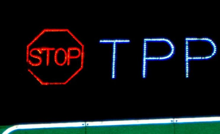 STOP TPP Overpass Light Brigade San Diego. Photo: Syd Stevens / Backbone Campaign via Flickr (CC BY-NC-ND).