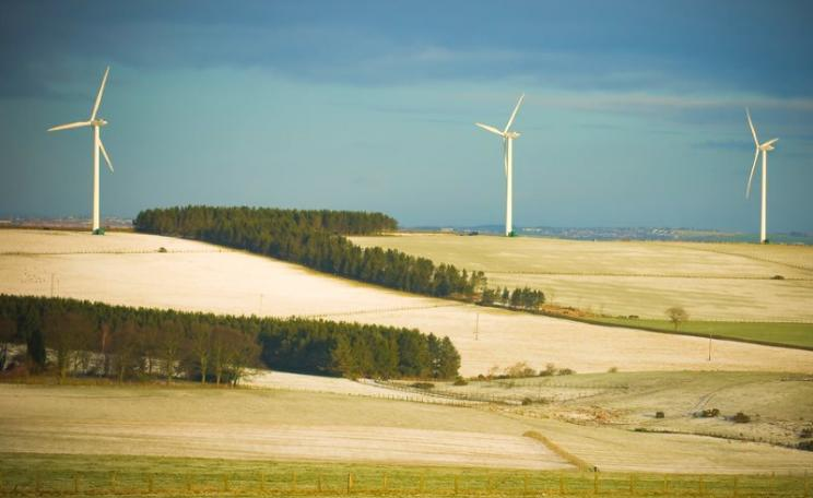 Wind turbines on farmland near Tow Law, County Durham, UK. Photo: Jonathan Pearson via Flickr (CC BY-NC-ND).
