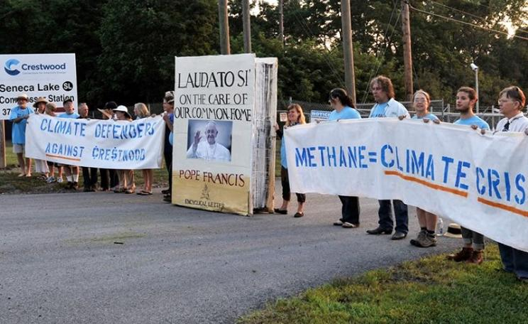 Seneca Lake defense = Climate defense. Protestors at Crestwood's Senaca Lake 'compression facility', 18th August 2015. Photo: via Facebook.