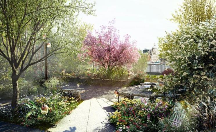 Artists impression of the Garden Bridge planned for the Thames in London. Photo: Garden Bridge Trust.