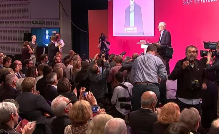 """We are one world!"" Jeremy Corbyn's victory speech. Photo: Still from C4 News (see embed)."