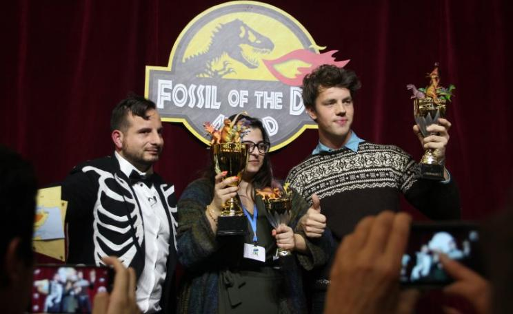 Saudi Arabia being awarded the 'fossil of the day' prize at COP21 last Thursday (Day 5) for trying to obstruct the goal to limit warming to 1.5C. Today, it looks like they lost. Photo: Takver via Flickr (CC BY-SA).