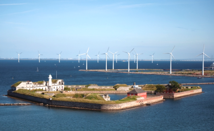 Wind turbines in Copenhagen, Denmark. Photo: CGP Grey via Flickr (CC BY).