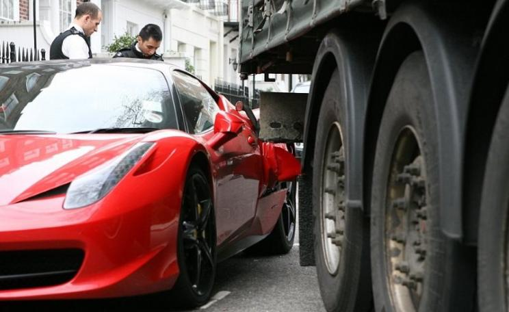 Too bad about the Ferrari. But far more serious is the health damage caused by pollution from HGVs and other diesel vehicles, which is causing a surplus mortality of some 40,000 people a year across the UK. Photo: Paul Townsend via Flickr (CC BY-ND).