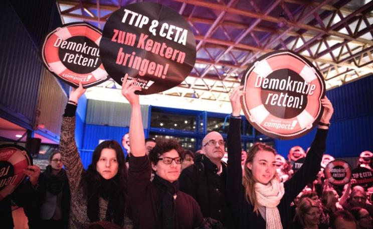 CETA could act as a 'backdoor agreement' for US corporations even if TTIP fails - no wonder they are trying to push it through!  Demo against TTIP & CETA in Hamburg, February 2015. Photo: Foto: Chris Grodotzki / Campact via Flickr (CC BY-NC).