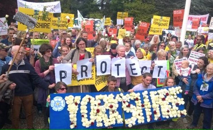 Demonstration against granting planning permission for fracking in Ryedale. Photo: Guy Shrubsole.