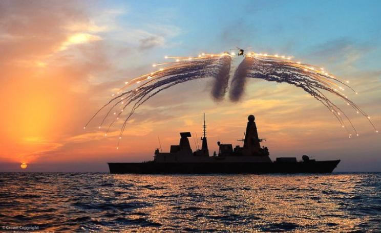 HMS Dragon's Lynx helicopter fires infra red flares during an exercise over a Type 45 destroyer of the kind that won't work in warm seas. Photo: Dave Jenkins / Defence Images via Flickr (CC BY-SA).
