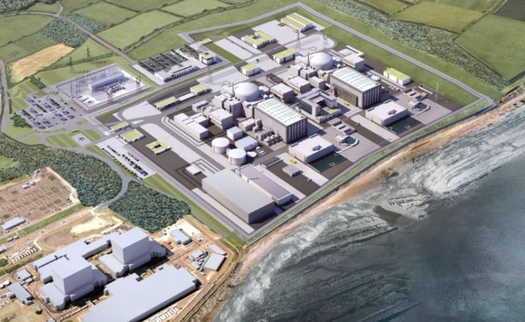 Aerial view of the completed Hinkley C project. Artists impression by EDF Energy.