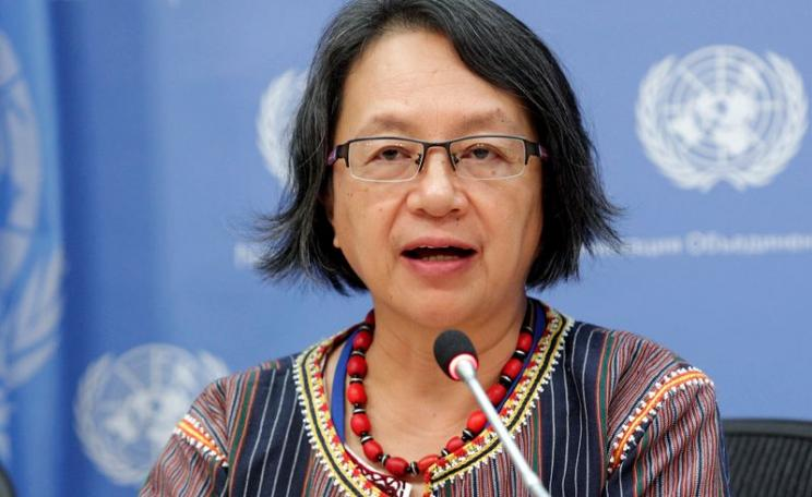 Vicky Tauli-Corpuz, the United Nations Special Rapporteur on the Rights of Indigenous Peoples, at the 14th session of the UN Permanent Forum on Indigenous Issues - 27 April 2015, New York. Photo: via rightsandresources.org.