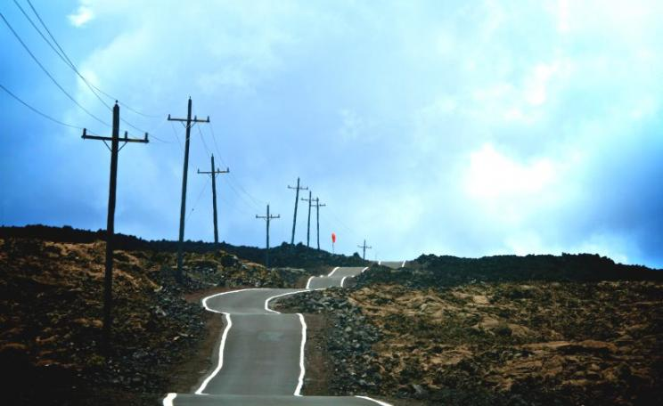 Up, up, up ... the access road to the observatories near the summit of Mauna Loa, the Hawai'ian volcano on which official measurements of global CO2 concentrations are taken. Photo: Dave Strom via Flickr (CC BY-NC-ND).