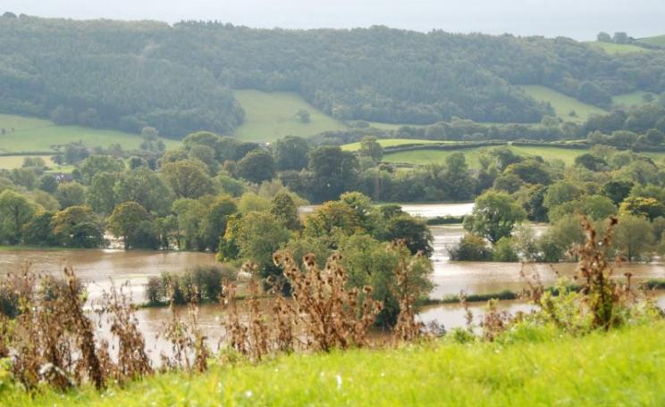 Submerged valley near Foel, Wales. Should farmers consider switching to growing rice in their flooded fields? Photo: Jonathan Pagel via Flickr (CC BY).