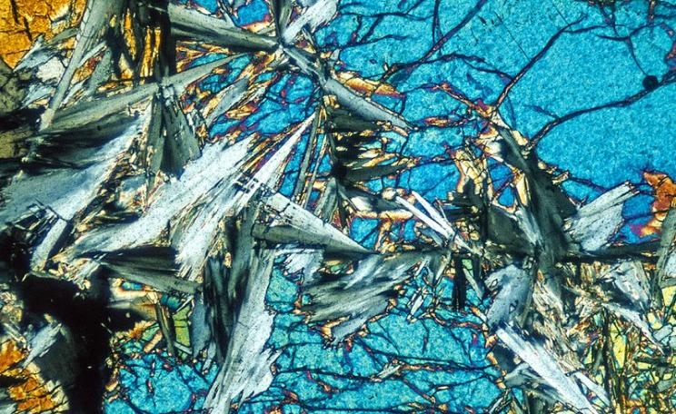 An example of the magic CO2-absorbing 'ultramafic' rock that could save the world: Forsterite - Serpentine rock in thin section, magnified under polarized light. Photo: Richard Droker via Flickr (CC BY-NC-ND).