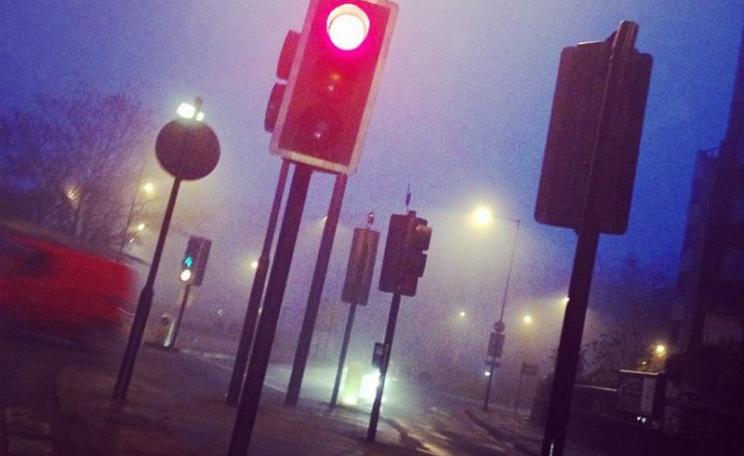 Red for Danger! London traffic lights in winter smog, 4th January 2015. Photo: alec boreham via Flickr (CC BY-NC-ND).