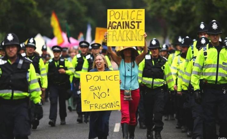 No, that's not Theresa May leading this 'police against fracking' demo, it's veteran anti-fracking campaigner Tina Rothery. Photo: Rev'd Peter Doodes via Fracking Hell (UK) on Facebook