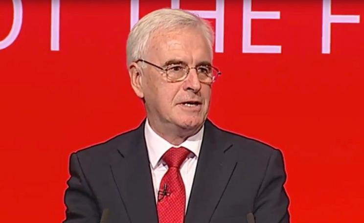 John McDonnell at the Labour Party conference in Brighton - pledging support for renewable energy.