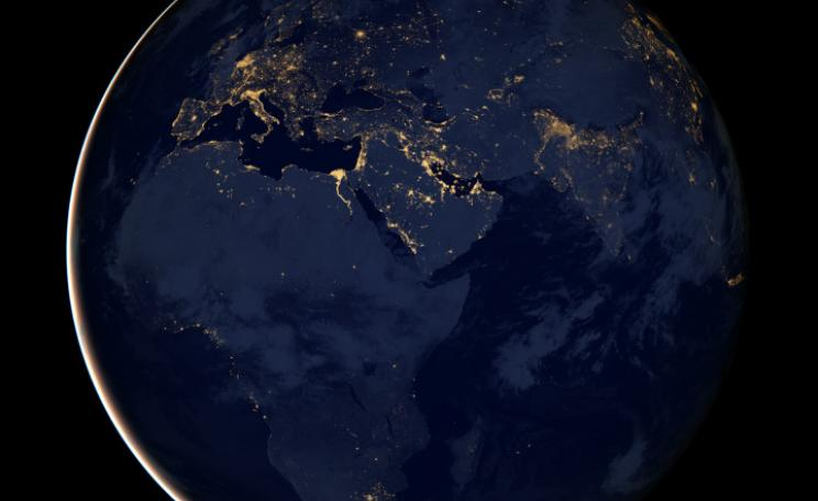 As the sun sets around the world, the lights are turned on, but in some places, there are more lights that others. (c) NASA