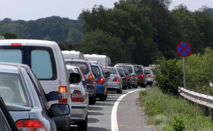 Cars sit stranded in a bank holiday weekend traffic jam on the A31 in the New Forest. (c) Jim Champion
